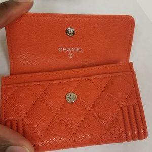 CHANEL Bags - Chanel Boy O Card Card Holder in Orange